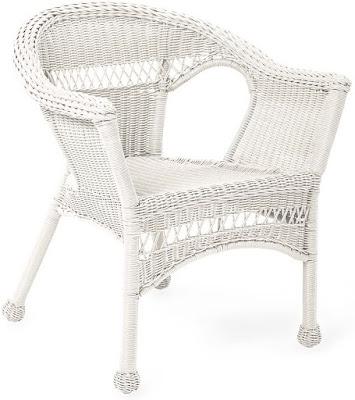 wicker outdoor patio chair bright white