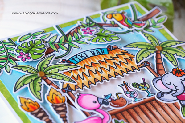 Sunny Studio Stamps: Tiki Time Tropical Scenes Card by Wanda Guess