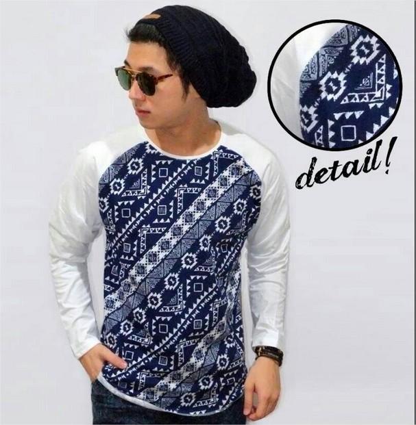... kaos batik oblong namun terlihat modis dan trendy kekinian kaos batik