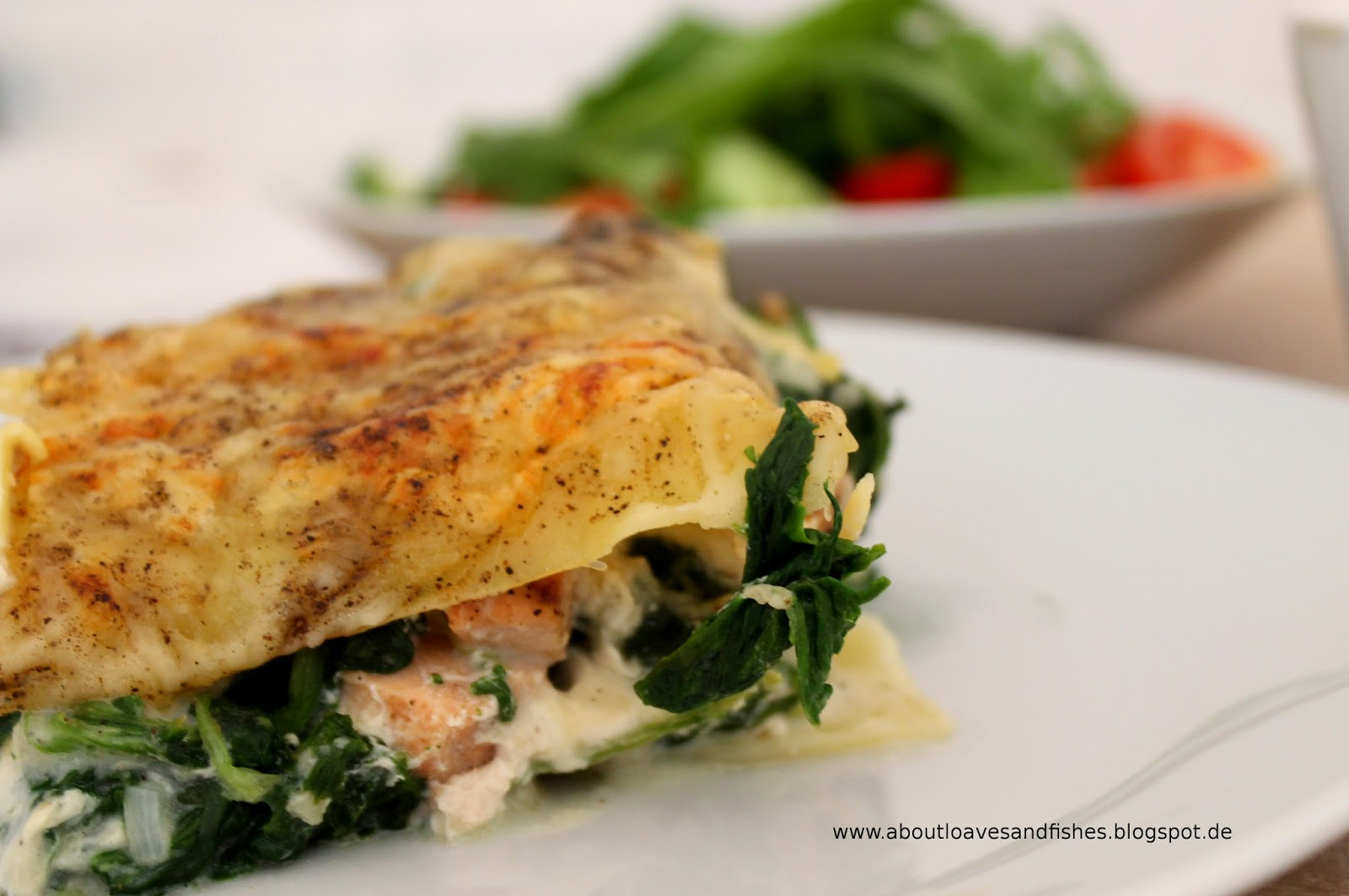 about loaves and fishes lasagne mit lachs und spinat