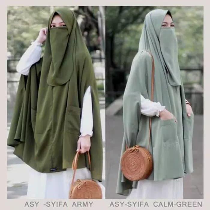 Jilbab Syari Plus Cadar Instan Asyifa Wolfis Premium Panjang