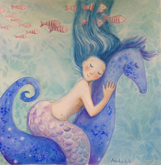 #seahorse #horse #blue #aqarelle #watercolor #illustration #painting #drawing #art