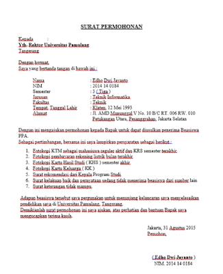 contoh surat permohonan beasiswa