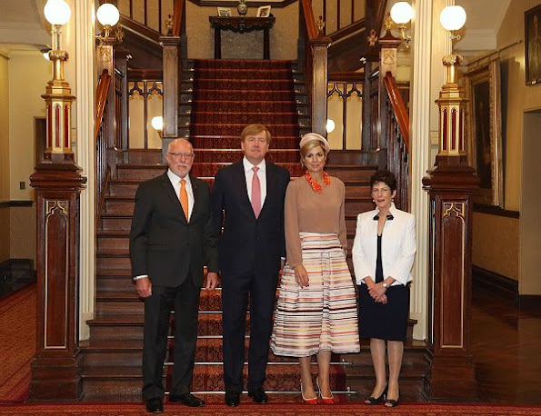 Queen Maxima wore Natan Skirt, dresses, Natan shoes, pumps, Natan Necklace, earrings, Bottega Venata clutch