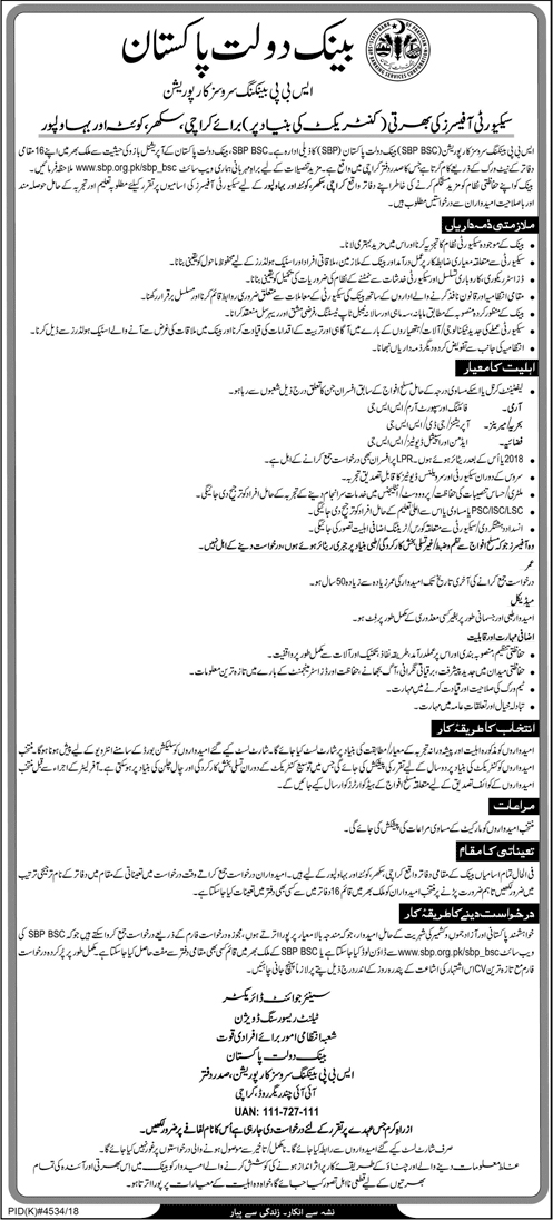 State Bank Of Pakistan Latest Jobs 2019 June
