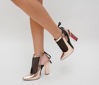 Pantofi moderni aurii 2019 de ocazii cu oc gros piele lacuita fashion