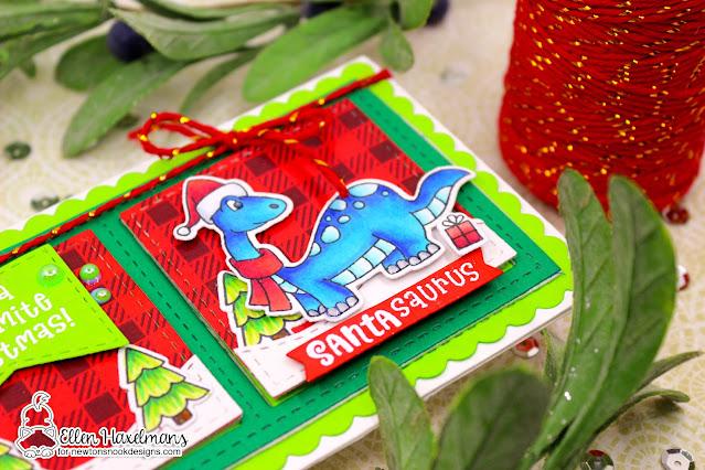 A Dino-mite Christmas Slimline Card by Ellen Haxelmans | Prehistoric Christmas Stamp Set, Meowy Christmas Paper Pad, Sea Borders Die Set and Slimline Die Sets by Newton's Nook Designs