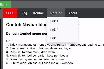 Cara membuat navbar blog responsif dengan menu dropdown plus menu pencarian
