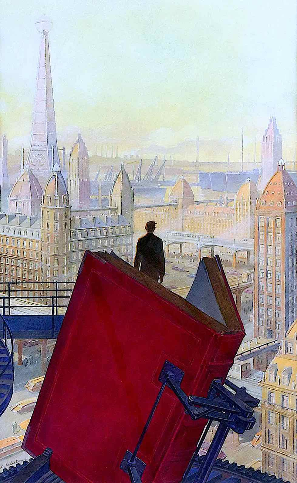 François Schuiten, a man looks out at a city from a giant book