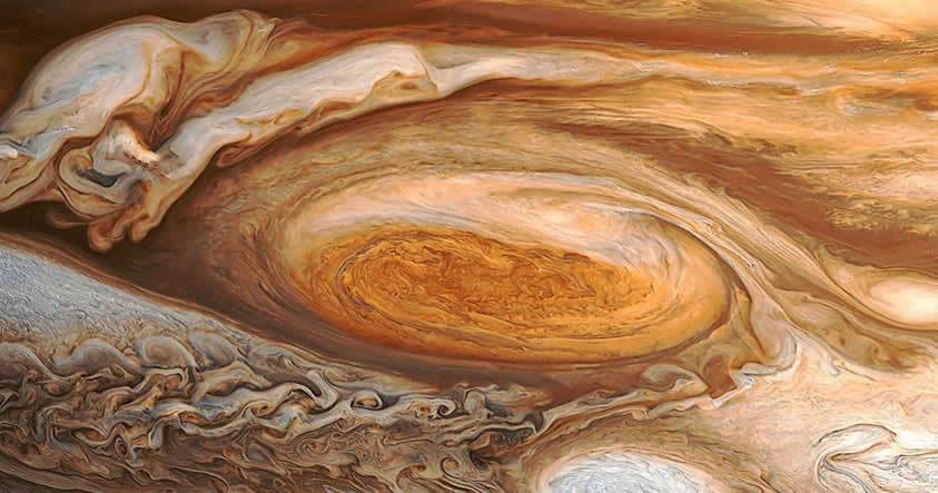 Imagen de la conocida como Gran Tormenta Roja en la atmósfera de Júpiter.
