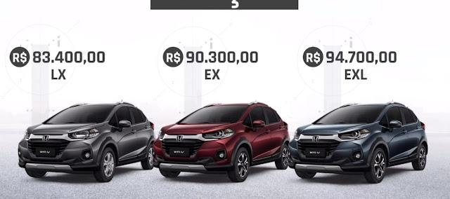 Novo Honda WR-V 2021 - Preços