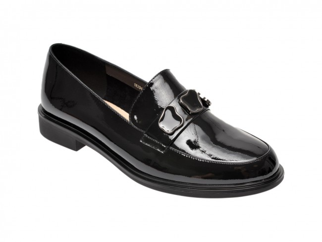 Pantofi casual femei moderni EPICA negri, din piele naturala lacuita