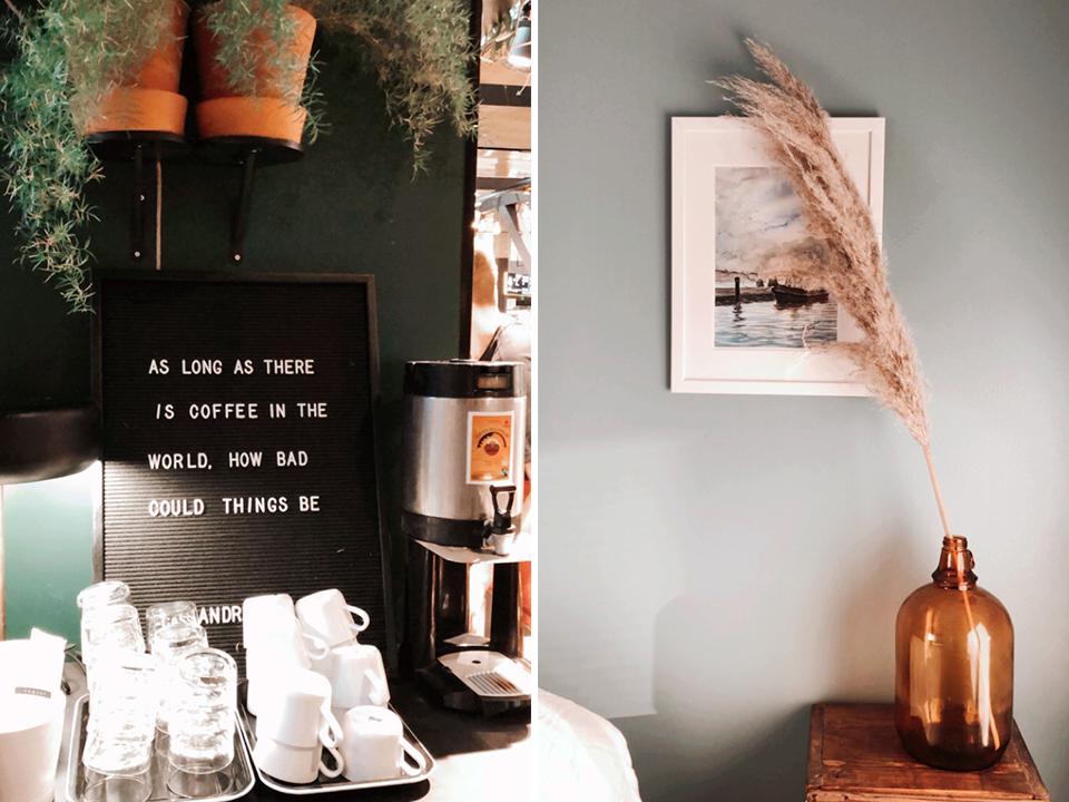 Coffee quote, home interior details with pampas grass - Kahvi, koti, sisustus, yksityiskohta, pampaheinä