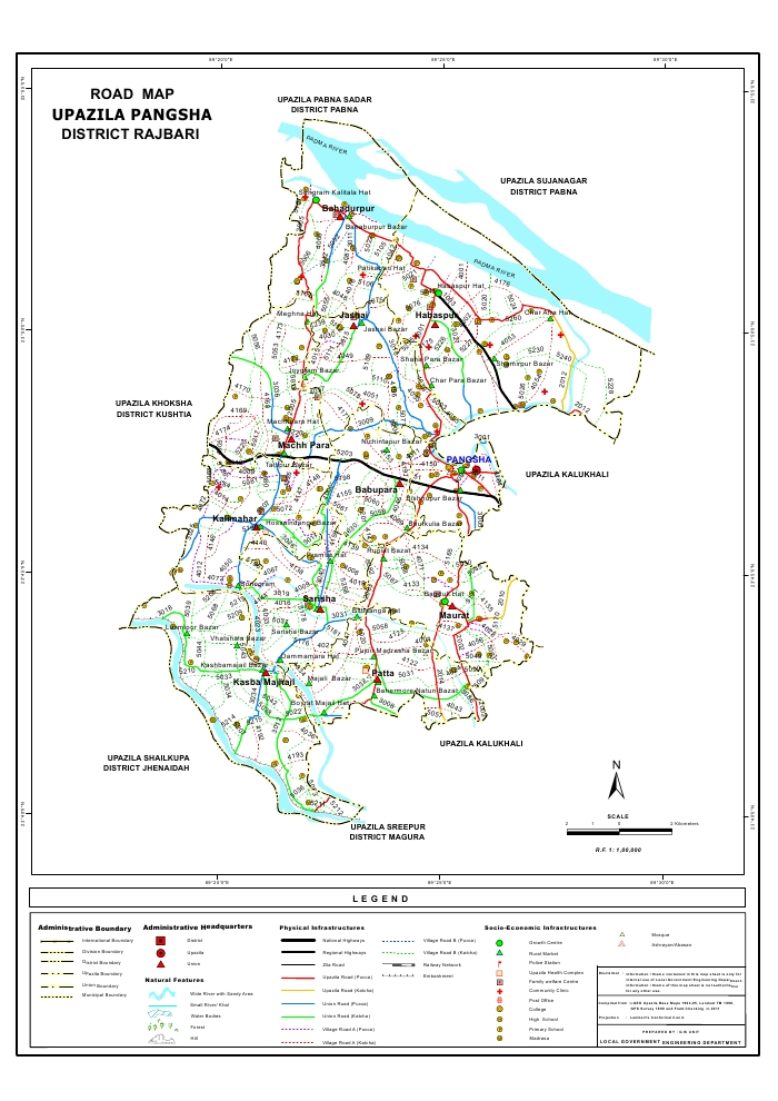 Pangsha Upazila Road Map Rajbari District Bangladesh