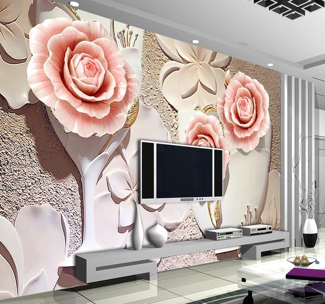 Tranh dán tường 3d hoa mẫu đơn phòng ngủ đẹp