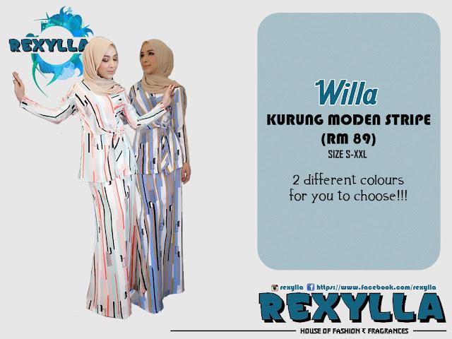 rexylla, baju kurung, kurung moden, stripe, willa collection