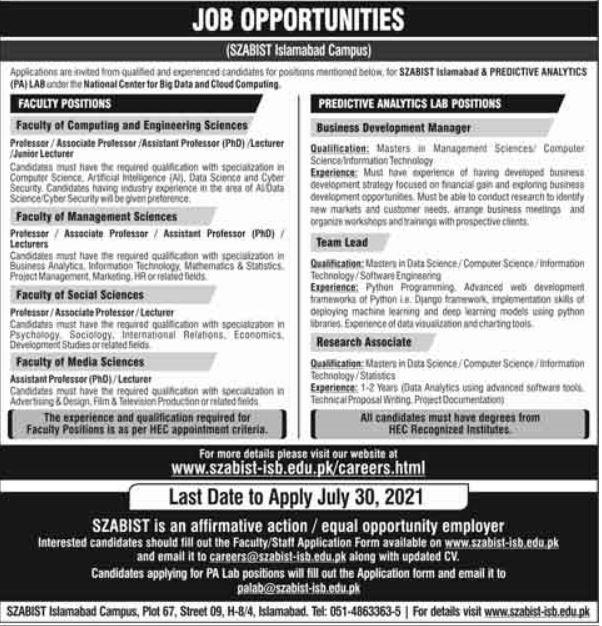 Shaheed Zulfiqar Ali Bhutto SZABIST Islamabad Campus Jobs 2021