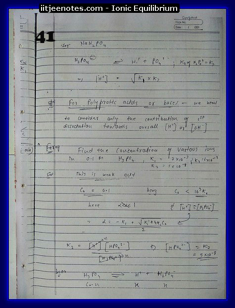 Ionic Equilibrium Notes IITJEE 9