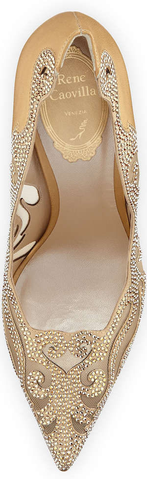 Rene Caovilla Crystal Laser-Cut 115mm Pump, Gold
