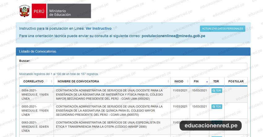 MINEDU: Convocatoria CAS MARZO 2021 - Cerca de 200 Puestos de Trabajo en el Ministerio de Educación - www.minedu.gob.pe