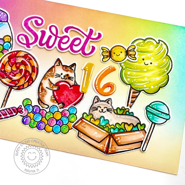 Sunny Studio Stamps: Chloe Number Dies Candy Shoppe Meow & Furever Birthday Card by Kavya