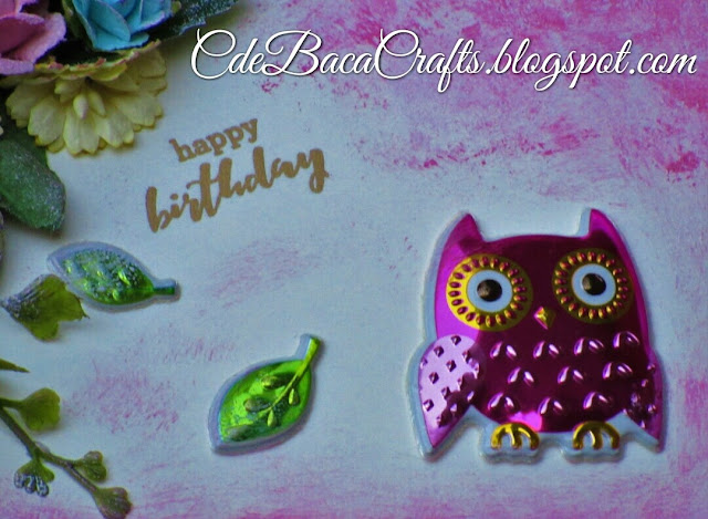 Handmade card using pillow owl stickers featured on CdeBaca Crafts blog