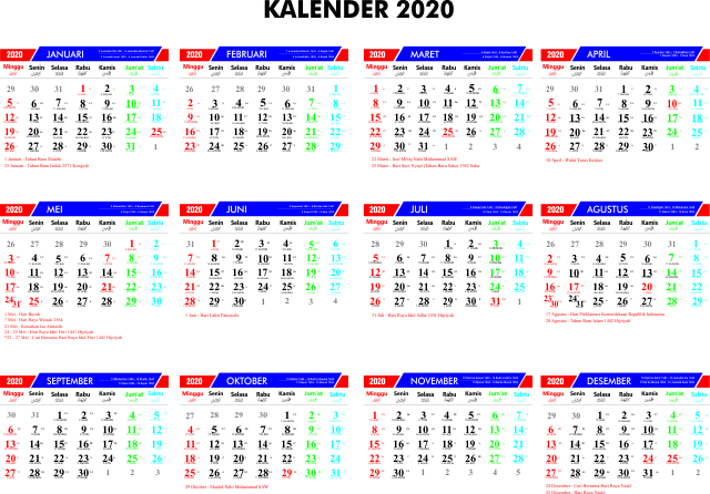 Download Kalender 2020 M / 1441 H CorelDraw