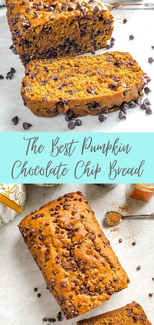 the inside of a loaf of chocolate chip pumpkin spice bread