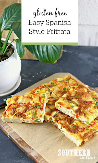 Easy Spanish Style Frittata Recipe - Gluten Free Potato Peas and Red Capsicum Frittata on White Rectangle Plate with Salad