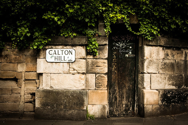 Photograph Historic Calton Hill Sign in Edinburgh Scotland Brown Door and Green Ivy Horizontal Travel Fine Art Print Home Decor