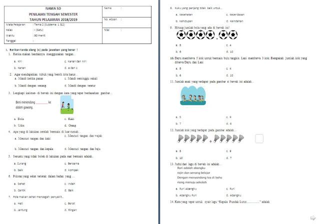Soal UTS Kelas 1 SD/MI: Tema 2 Subtema 1 dan 2