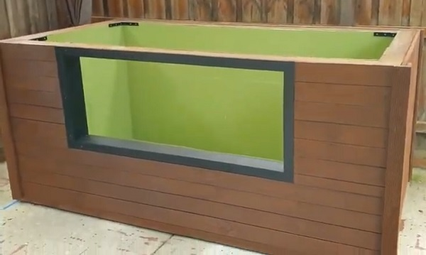 Painting Glass Window Frame of Patio Pond