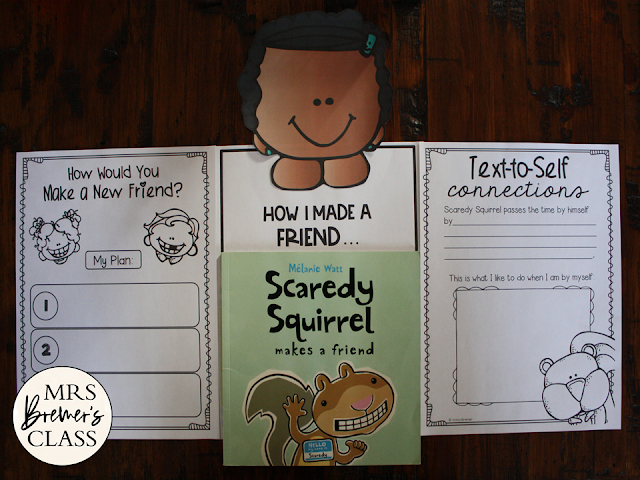 Scaredy Squirrel Makes a Friend book study literacy unit with Common Core aligned companion activities and a craftivity for K-1