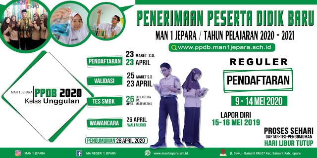 PPDB MAN 1 Jepara Tahun Pelajaran 2020/2021