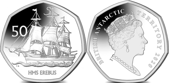 British Antarctic Territory 50 pence 2020 - HMS Erebus