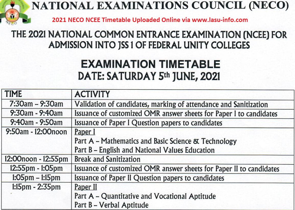 NECO NCEE Timetable for Unity Schools [5th June 2021] | JSS 1