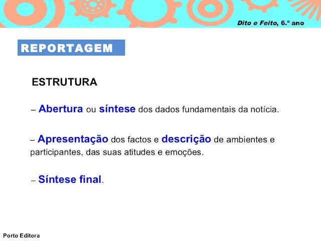 REPORTAGEM estrutura texto