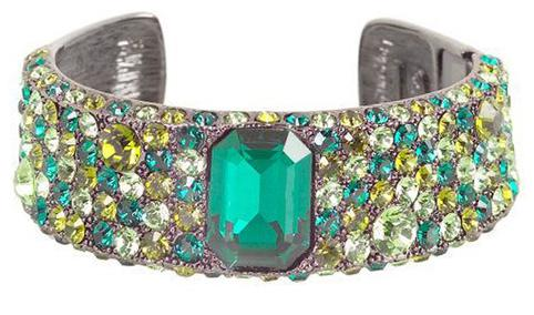 Kenneth Jay Lane green hermitage pave cuff bracelet