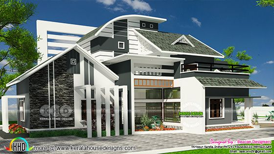 Ultra modern 4 BHK mixed roof home