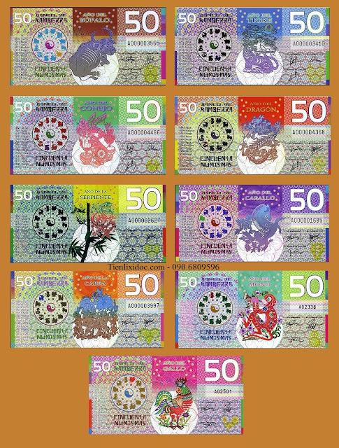 Tiền Kamberra Bộ 9 Tờ Hình Con Giáp