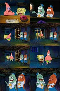 Polosan meme spongebob dan patrick 128 - spongebob dan patrik dipenjara karena mencuri balon gratis