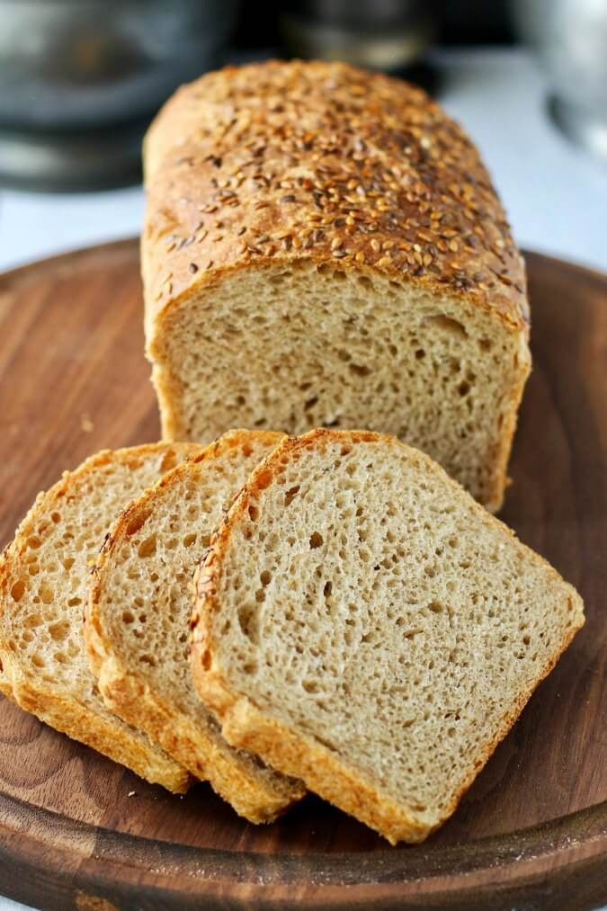 No Knead Sprouted Wheat and Flax Seed Bread