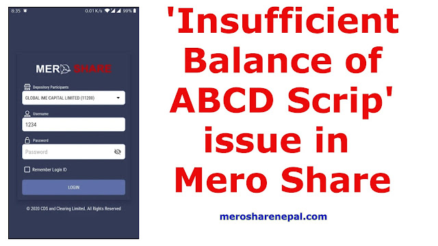 Insufficient Balance of ABCD Scrip issue in Mero Share