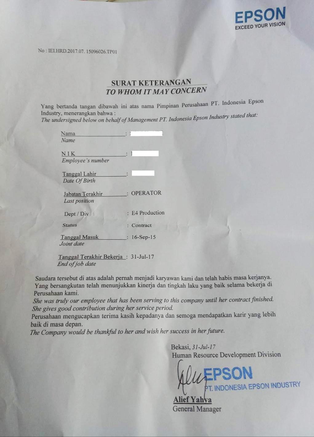 Contoh Surat Paklaring Pt Epson Pengalaman Kerja Sebagai Operator Lowongankerjacareer Com