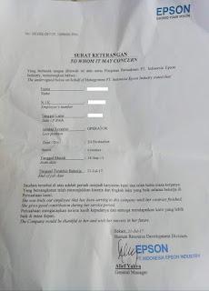 Contoh Paklaring PT Epson 2020 Contoh surat pengalaman kerja PT Epson