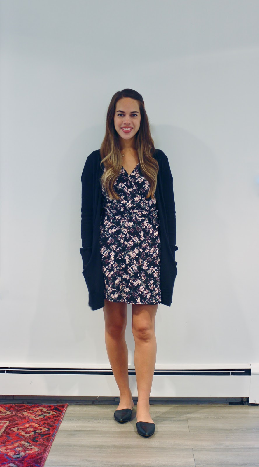 Jules in Flats - Floral Wrap Dress with Cardigan (Business Casual Workwear on a Budget)