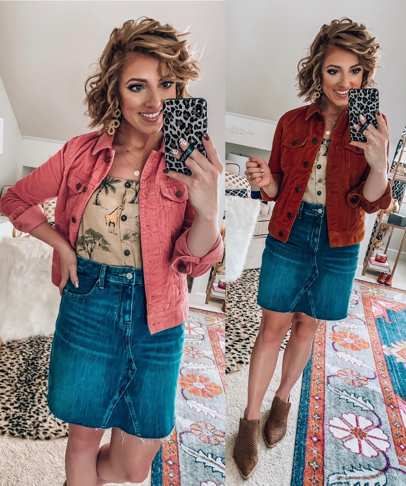 Old Navy Denim Skirt, Corduroy Jacket and Safari Print Cami  - Somethig Delightful Blog #affordablefashion