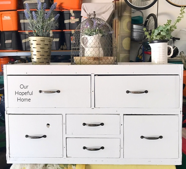 white painted seed cabinet drawers hardware handles