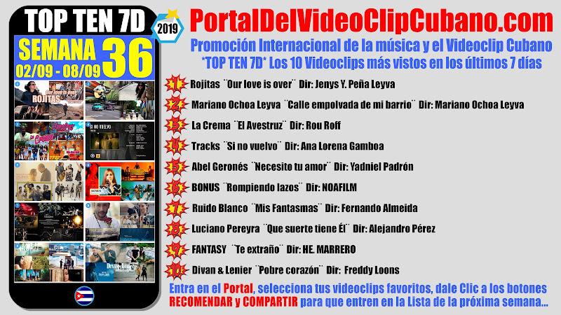 Artistas ganadores del * TOP TEN 7D * con los 10 Videoclips más vistos en la semana 36 (02/09 a 08/09 de 2019) en el Portal Del Vídeo Clip Cubano