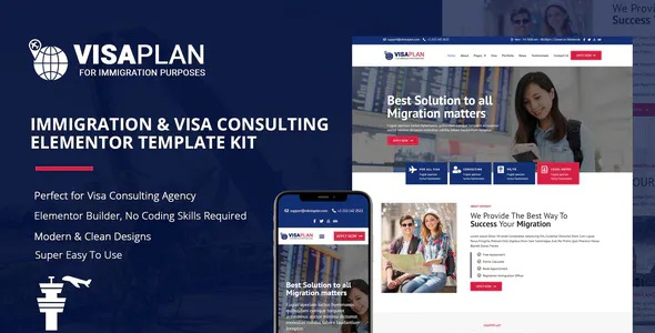 Best Immigration and Visa Consulting Elementor Template Kit